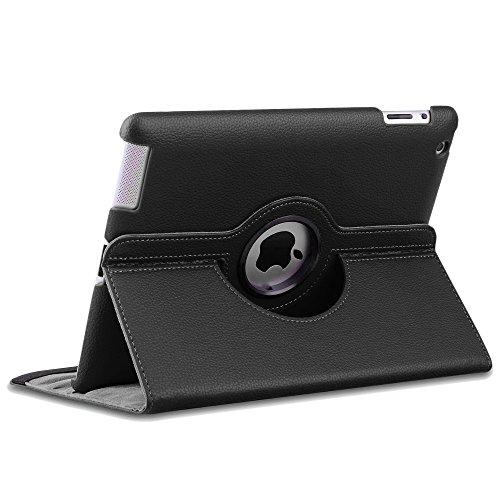 ebestStar - compatibel iPad 4 Hülle Retina, iPad 3, iPad 2 Rotierend Schutzhülle Etui, Schutz Hülle Ständer, Rotating Case Cover Stand, Schwarz [iPad: 241.2 x 185.7 x 9.4mm, 9.7'']