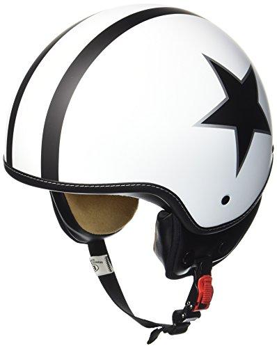 SOXON SP-301-STAR White Motorrad-Helm Roller-Helm Jet-Helm Bobber Scooter-Helm Pilot Cruiser Vintage Mofa...