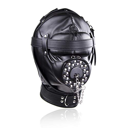 Ledermaske, Bundle Binding Mundstück Erwachsene Spielzeug Maske Hood Sexual Mouth Hood Homosexuell Halloween Kostüm Requisiten für Paar Cosplay,A