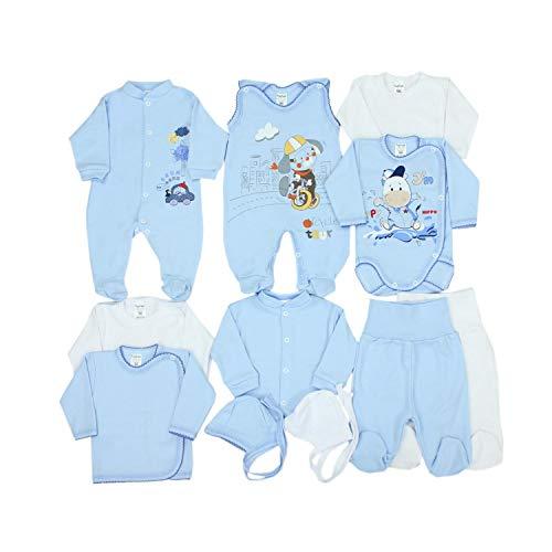 TupTam Unisex Baby Erstausstattung Bekleidungsset 11 teilig, Farbe: Blau Hündchen, Größe: 56