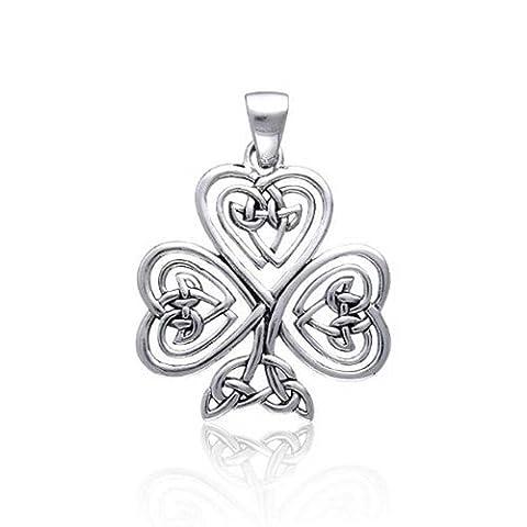 Celtic Knot Heart Clover Sterling Silver Pendant