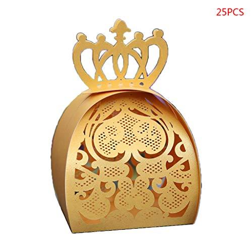 WuLi77 25 Stück Love Heart Crown lasergeschnittene hohl Hochzeit Gastgeschenk Box Schokolade Süßigkeiten Box mit Band für Brautparty, Jahrestag, Hochzeit, Bombonniere, Party Favor gold
