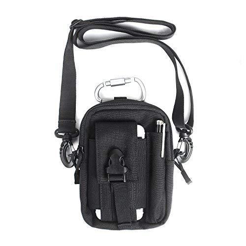 Unigear Taktische Hüfttaschen Molle Tasche Gürteltasche MOLLE Beutel Militär Ideal für Outdoorsport Multifunktionen Praktische Ausrüstung mit Extrafreiem Aluminiumkarabiner (Schultergurt+Schwarz)