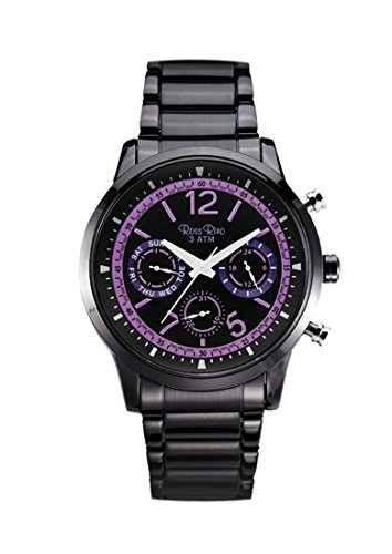 Reloj digital de cuarzo reloj de Pulsera Unisex del deporte del Rino color negro y esfera de color negro y pulsera de acero inoxidable