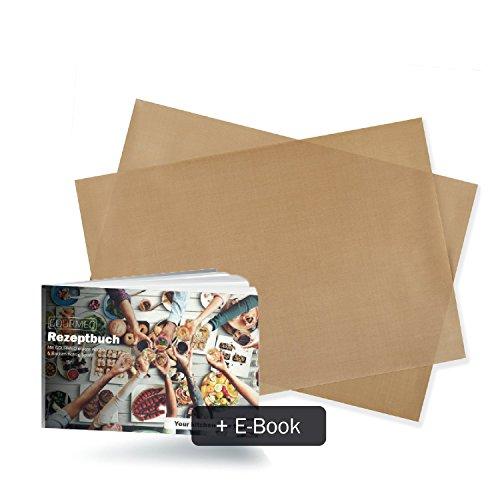 Image of GOURMEO Dauerbackfolie (2er Set, 32 x 46 cm) + kostenloses E-Book, einfach zuzuschneiden, spülmaschinenfest, antihaftbeschichtet | 2 Jahre Zufriedenheitsgarantie | Backpapier wiederverwendbar, umweltschonend