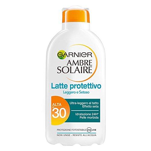 Garnier ambre solaire crema solare, protezione solare alta ip30, latte protettivo leggero e setoso, 200 ml