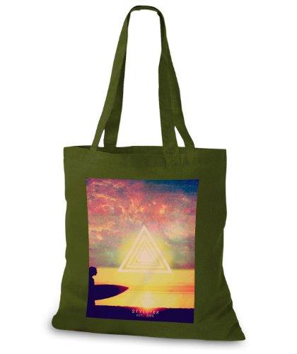 StyloBags Jutebeutel / Tasche Sunset Surfer Triangle Khaki
