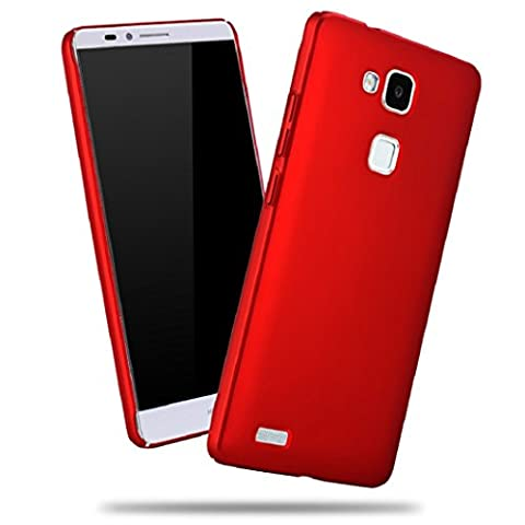 Apanphy Huawei Mate7 Coque, [Haute Qualité] [Ultra Slim] [dur soyeux] [Scrub Shell] [Protection Totale] [contre peau] Coque pour Huawei Mate7, Rouge