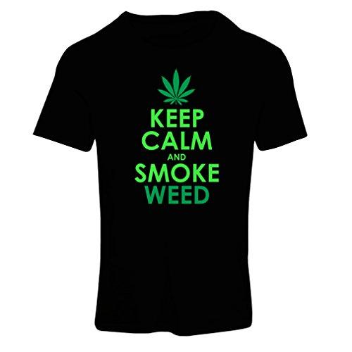 Goldene-blatt-grüner Tee Tee (Frauen T-Shirt Halten Sie Ruhe und Rauch - Marihuana Blatt - Unkraut Raucher (Small Schwarz Grün))