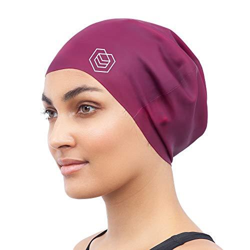 SOUL CAP - Badekappe/Schwimmkappe/Bademütze/Duschhaube für langes Haar | für langes, Dickes oder lockiges Haar | für Erwachsene, Jugendliche und Kinder | Silikon (Rot)
