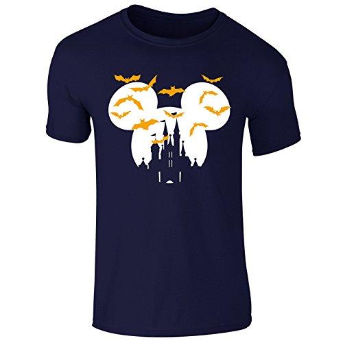 New Men's Haloween Disney Castle Mickey T Shirt Top Tee (Large) Navy (Disney-halloween Castle)