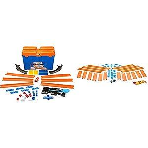Hot Wheels Track Builder Caja de Acrobacias, Accesorios para Pistas de Coche (Mattel DWW95) + Track Builder, tramos de Pista con vehículo Incluido, Accesorios para Pistas de Coches de Juguete