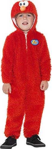 (Smiffys, Kinder Unisex Elmo Kostüm, All-in-One mit Kapuze, Sesamstraße, Größe: T2 (Kleinkind Medium), 37990)