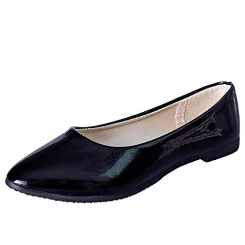 Klassische Brautschuhe Damen Ballerinas Freizeit Schuhe Geschlossene Elegante Slippers Stoffschuhe Spitze Schuhspitze Abendschuhe Slipper Party Schuhe Geschlossene Tanzschuhe LMMVP (41EU, Schwarz)