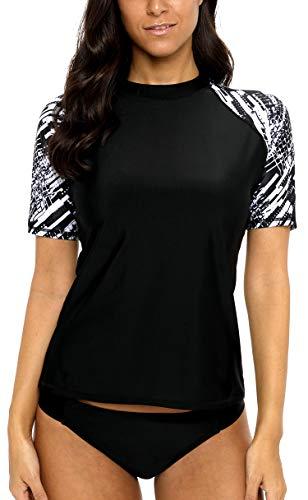 BeautyIn Rash Guard Kurzarm UV-Schutz (UPF) 50+ Schwimmshirt Frauen Drucken Badeshirt M