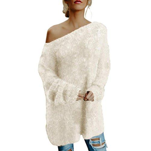 TUDUZ Damen Elegant Schulterfrei Langarm Lose PulloverKleid Strickkleid Oversized Sweatshirt Strickpullover Oberteil Minikleid (Beige, S) (Shirt Wolle Flanell)