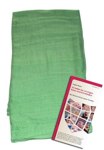 Extra große Mulltücher zum Pucken- 1 Stück aus 3er-Packung entnommen. Leuchtend Grün.