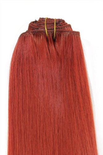 Wig me up ® - clip in set completo 8 pezzi extension intera testa rosso(350) lunghezza 40 cm ex03-ggo-350