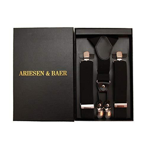 Ariesen & Baer Hosenträger (schwarz) Herren hochwertig mit extra starken Clips 3,5cm Hosentraeger, Anzug, Hochzeit, Weihnachten/in hochwertiger Geschenkbox…
