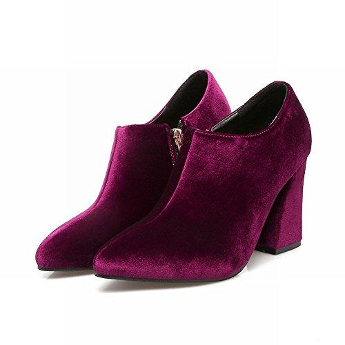 Mee Shoes Damen elegant Blockabsatz Reißverschluss ankle Boots Rot