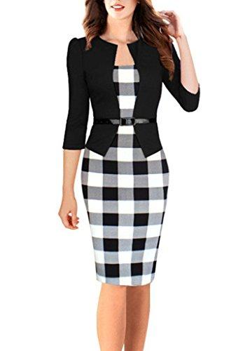 Myroad Mujeres Vintage A-Line Vestido Elegante Rodilla Longitud Ropa Ol Negocio Vestido Fiesta Vestido Negro A 42