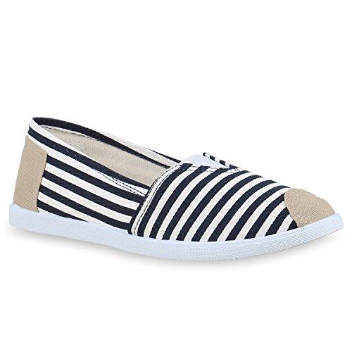 Damen Espadrilles Bast Slipper Glitzer Streifen Sommer Schuhe Dunkelblau Weiß