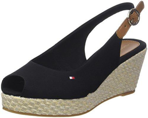 Tommy Hilfiger Damen Iconic Elba Basic Sling Back Espadrilles, Schwarz (Black 990), 37 EU (Schuhe Wedge)