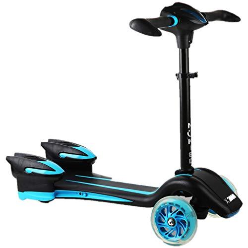Patinetes Scooter de 3 años para niños, Enciende Ruedas con Patines con Cubierta Ancha y manija Ajustable, Negro (Color : Azul)