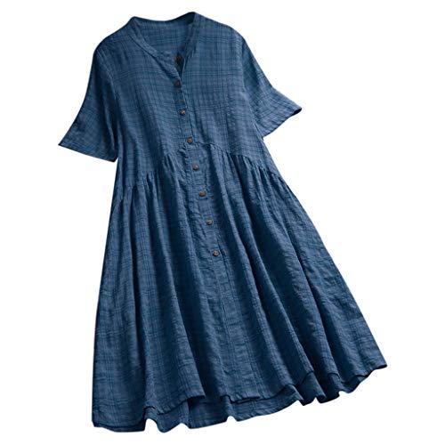ZZXIAN Strandkleider GroßE GrößEn Baumwolle Damen Sommer Lang, Sommerkleid Casual Kurzarm Kleider Kleider Kleid Boho Abendkleider Elegant Abendkleid Chiffon
