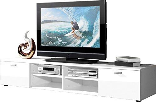 PEGANE Meuble TV en Bois, Coloris Blanc avec 4 Compartiments et 2 Portes, L 160 x H 30 x P 40 cm