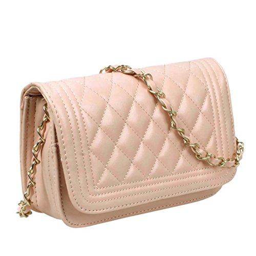BMC Damen Einfarbig Kunstleder Rauten Gesteppt Muster Mini-handtasche Clutch - Pfirsich (Mini-handtasche Gesteppte)