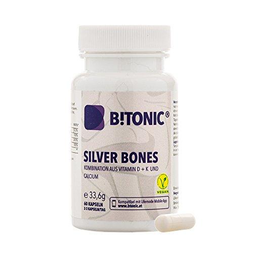 Integratore Articolazioni – Ossa - Cartilagine – Con manganese + calcio + glucosamina + vitamina K + D - Contro Artrite Reumatoide – Nutrimento 100% Vegan - 60 Pillole Silver Bones by B!Tonic