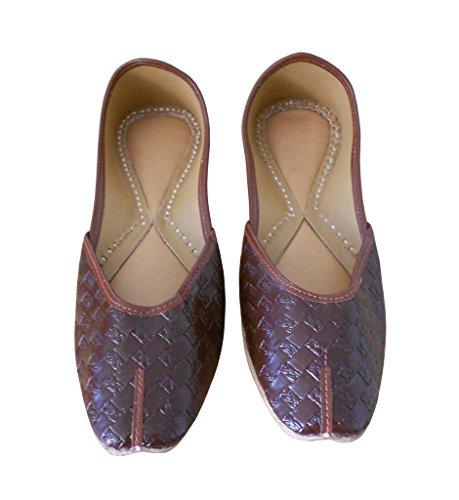 kalra Creations Chaussures de synthétique traditionnel indien Casual pour Femme Marron
