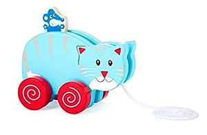 Small Foot 10635 - Pata de Peluche con Forma de Gato, Hecha de Madera Colorida con cordón de tracción para Caminar, Mientras Que Tira del pequeño ratón en la Espalda se Mueve