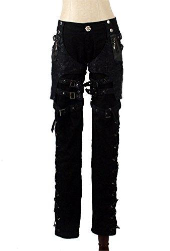 Pantalones Largos de Patchwork de Mujer Pantalones de Estilo Callejero Retro gótico con múltiples Correas