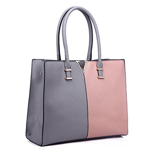LeahWard® Damen X Groß Mode Essener Berühmtheit Tragetaschen Damen Qualität Schnell verkaufend Modisch Handtaschen CWS00319B CWS00319C CWS00319 (319C Grau/nackt V)