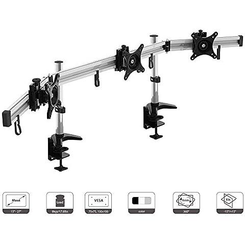 Support 3 Ecrans - HFTEK® MP230C-N Support de bureau pour trois