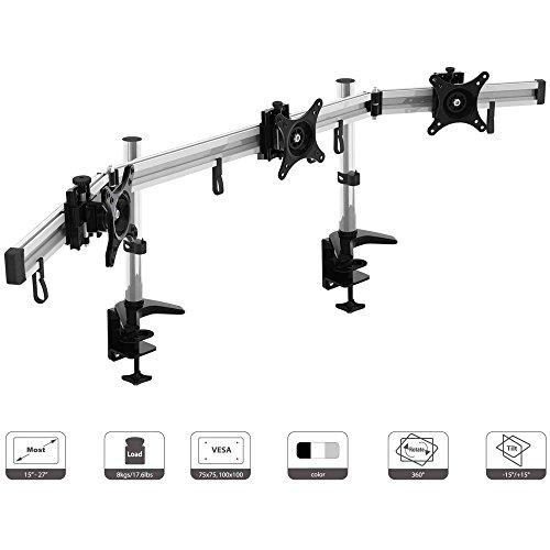 HFTEK 3-Fach Monitorarm - Tischhalterung für 3 Bildschirme von 15 – 27 Zoll mit VESA 75 / 100 (MP230C-N) (Triple Monitor Mount)