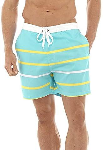Mens/Gentlemens maillots de bain Stripe Imprimer Summer Swim Short avec taille élastiquée, Turquoise grand