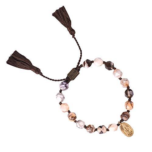 KELITCH Armband Frauen Männer Bunte Achat Handgewebte Quaste Gold Überzogene Buddha Geflochtene Freundschaft Charms Armbänder für Pärchen Damen Herren (Braun)