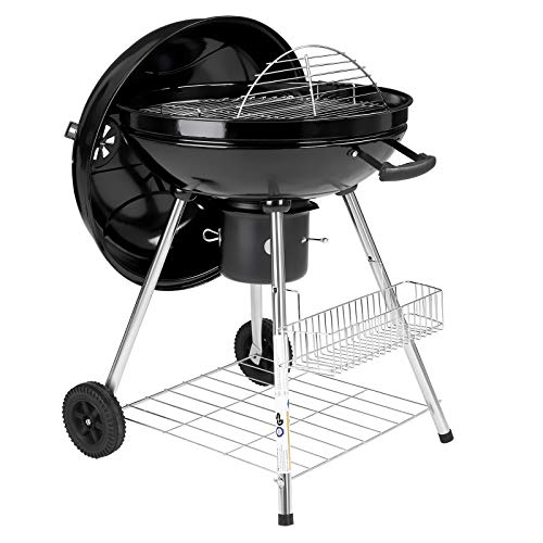 SONGMICS 90 x 58 x 56.5 cm Charcoal Barbecue, Ø 54,4 cm, Barbecue Kettle Grill with Wheels and Lid, Removable Ash Catcher Container and Air Damper, Spice Holders, for Garden Party GBQ22BKV1