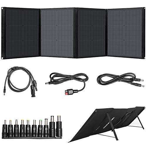 BEAUDENS Tragbares Solar Panel 100W, Faltbares Solar Panel mit 4 Anschlüssen + Ständer zum Camping Outdoor für Generator/Laptop/iPad/Handy