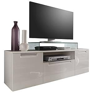 trendteam al85201 tv m bel lowboard weiss hochglanz bxhxt 160 x 52 x 40 cm k che. Black Bedroom Furniture Sets. Home Design Ideas
