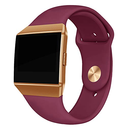 Kmasic Compatible Fitbit Ionic Straps, Soft Silicone Sport Strap Breathable Replacement Bracelets for Fitbit Ionic, Female Male, Small, Red Wine with Golden Button