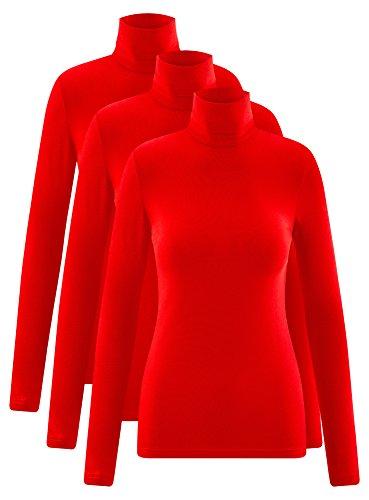 oodji Ultra Femme Col Roulé Basique (Lot DE 3) Rouge (4500N)