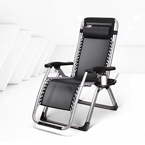YIXINY Fauteuils inclinable WQB-T4 Jardin chaises longues en acier chaise de pont multifonction chaise de plageMulti-angle ajustement pliable appui-tête noir