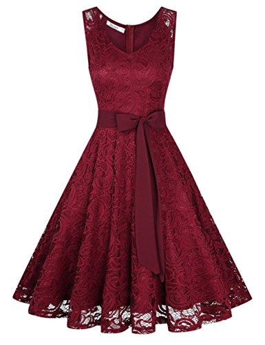 KoJooin Damen Kleid Brautjungfernkleid Knielang Spitzenkleid Ärmellos Cocktailkleid Bordeaux M (Rose Kleid)
