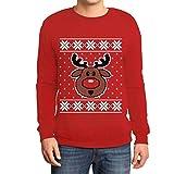 Hässlicher Weihnachtspullover Rudolph Rudolf Rentier Sweatshirt Large Rot