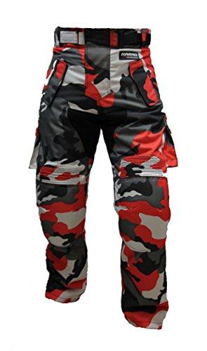 Karno-Motorsport Kt310 Pantalon moto quad treillis rouge camouflage militaire MARPAT Urban red