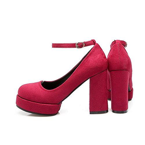 VogueZone009 Femme à Talon Haut Dépolissement Couleur Unie Boucle Rond Chaussures Légeres Rouge Vineux